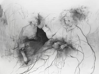 Laying on of Hands, 2015. Kul, pastel på papir. 180 x 180 cm.