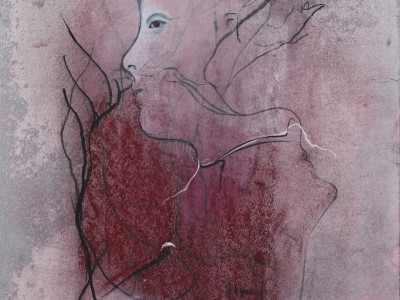 Losing our Heads (III), 2015. Blandede medier på papir. 35 x 26 cm.