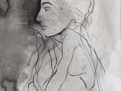 The Seed, 2015. Blæk, kul, bly, pastel på papir. 43 x 68 cm.